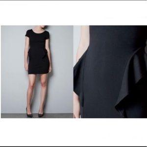Zara Trf Peplum Cap Sleeve Black Dress Medium
